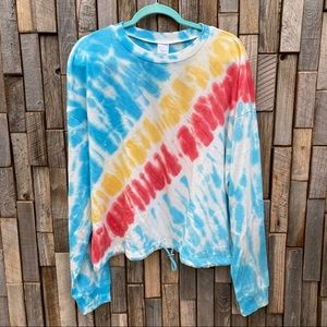 Tie dye modest crop top shirt cinch plus size